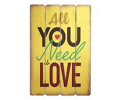 Placa Decorativa All You Need Is Love - 40X60cm