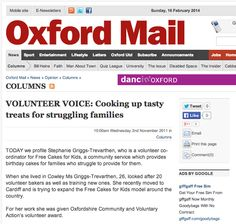 The Oxford Mail profiles Stephanie Griggs-Trevarthen about Free Cakes for Kids UK (02/11/2011)