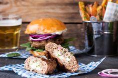 Feta Stuffed Lamb Burgers with Homemade Tzatziki