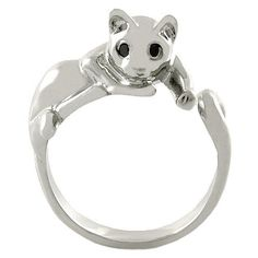 Amazon.com: Enhanced Relaxing Cat Animal Wrap Ring White Gold-plated Shiny Silver Tone: Jewelry