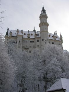 Looking back up at the Neuschwanstein Castle on my walk back down the hill.