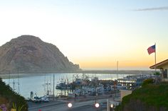 Sunset in the little seaside town of Morro Bay along the Central Coast in California - a great view of the famous landmark: Morro Rock  #MorroBay