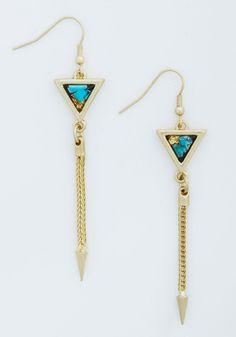 Point of Ooh La La Earrings.  #blue #modcloth