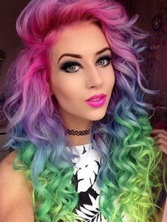 Green pink rainbow dyed hair