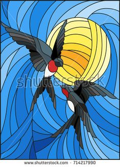 Illustration in stained glass style a pair of swallows on the background of sky and sun