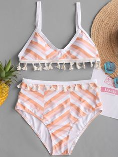 f5e4dd5166 Tassel Zigzag High Rise Bikini Set - Swimwear Fashion