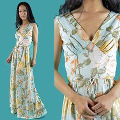 c009a46a91 Vintage 70s Long Maxi Dress   Floral Bohemian Maxi Dress   Empire Waist  Sleeveless Summer Maxi Dress S   M