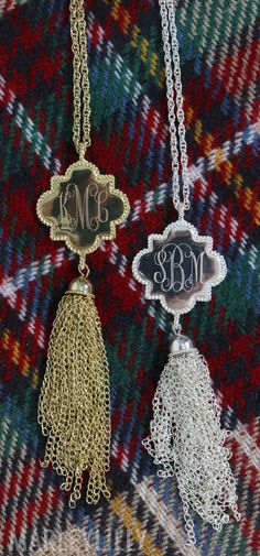 Quatrefoil Gold & Silver Monogrammed Necklaces! MUST HAVEEEEE!
