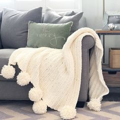 Pom Pom Crochet Blanket - Daisy Farm Crafts
