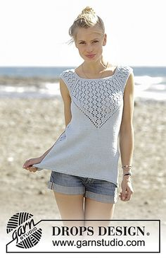 Knitted top with raglan and lace pattern, worked top down in DROPS Cotton Light. Sizes S - XXXL.