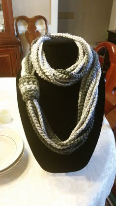 Charcoal and Light Gray Infinity Scarf by SittisHands on Etsy