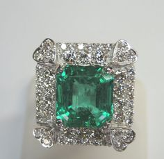 Natural Colombian Emerald 10CT Diamond 3CT 18K White Gold Ring Size 8.25 Fine #SolitairewithAccents