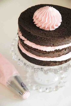 Chocolate cake with pink buttercream