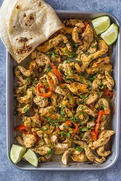 Sheet Pan Roasted Cilantro Lime Chicken Chicken spiced with garlic, cilantro & lime and oven roasted. This flavor packed zesty chicken goes great in burritos, tacos, bowl, and salads and is done all in one pan in under 30 minutes! Chicken Spices, Chicken Recipes, Oven Chicken, Chicken Meals, Chicken Fajitas, Turkey Recipes, Baked Chicken, One Pan Dinner, Dinner Dishes