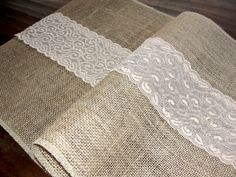 Burlap table runner with cream lace rustic table runner wedding table runner rustic ,  handmade in the USA on Etsy, $19.99