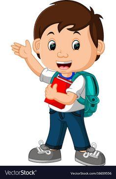 Boy with backpacks cartoon Royalty Free Vector Image, Student Cartoon, Cartoon Boy, Drawing School, School Painting, Kids Background, Cartoon Background, Preschool Learning, Preschool Activities, School Border