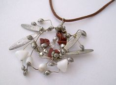 Silver Wreath Stone Pendant. Abstract by JirjiMirjiOneofaKind, €65.00