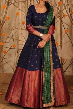 Stunning blue color floor length anarkali dres with big pattu boarder. Ananrkali dress with sleeves and waist belt. Lehenga Saree Design, Half Saree Lehenga, Lehenga Designs, Anarkali Dress, Sari Dress, Saree Gown, Anarkali Suits, Indian Gowns Dresses, Indian Fashion Dresses