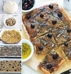 La pissaladière, une recette niçoise avec une pâte à pain ou à pizza, oignons confits et ail, anchois et olives, des herbes aromatiques. Un régal pour les amateurs d'oignons et d'anchois. Dégustez-la chaude ou froide. Avec une petite salade, cela vous fait un bon plat complet.