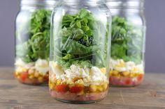 Greek Salad in Mason Jars #21dayfix #cleaneating