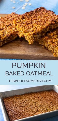 Pumpkin Baked Oatmeal Pumpkin Baked Oatmeal Recipe – This easy pumpkin oatmeal recipe is great for a crowd, make ahead breakfast, or a to-go breakfast through the busy week. via Amanda {The Wholesome Dish} Healthy Food Habits, Good Healthy Recipes, Healthy Foods To Eat, Healthy Baking, Healthy Snacks, Diet Recipes, Baked Pumpkin Oatmeal, Baked Oatmeal Recipes, Pumpkin Spice