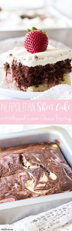 This homemade Neapolitan Sheet Cake recipe has swirls of vanilla cake, chocolate cake, and strawberry cake. This Neapolitan Cake is topped with the creamiest Whipped Cream Cheese Frosting, making this cake totally irresistible!