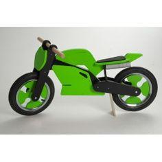 Kiddimoto superbike loopfiets groen met zwart. race door de kamer heen!