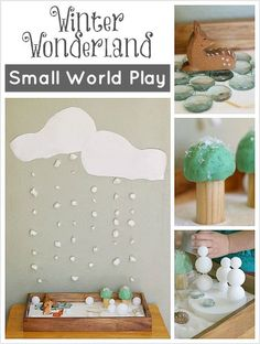 Winter Small World Play: Winter Wonderland using loose parts to inspire creative and sensory play for preschoolers! Includes cotton snow backdrop, playdough trees, and styrofoam snowmen! Sensory Table, Sensory Bins, Sensory Play, Toddler Preschool, Preschool Activities, Preschool Door, Preschool Christmas, Winter Activities For Kids, Crafts For Kids