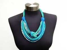 Ocean african style women fashion recycle fabric necklace-ethnic-tribal pattern-eco friendly-spring fiber jewelry-decorative knot-turquoise