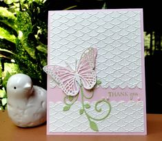 Cased Butterfly Thank You by jasonw1 - Cards and Paper Crafts at Splitcoaststampers