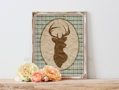 Deer Head Buck Art Print Plaids in Blue Greens and Tan Creams  (5AOWDe16) 11x14 Art Print Rustic French Country Modern Art Print by OrangeWillowDesigns on Etsy