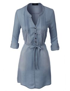 LE3NO Womens Long Sleeve Denim Shirt Dress with Self Tie Belt