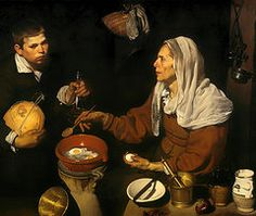 Cooking Paintings - An Old Woman Cooking Eggs  by Diego Velazquez