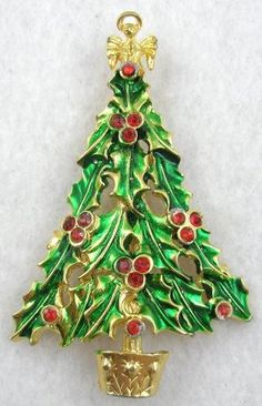 Enameled Holly Christmas Tree Brooch - Garden Party Collection Vintage Jewelry