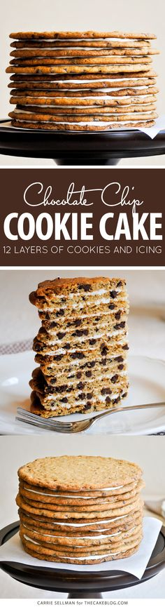 Chocolate Chip Cookie Layer Cake - the ultimate cookie cake for cookie lovers. Mini Desserts, No Bake Desserts, Just Desserts, Delicious Desserts, Dessert Recipes, Oreo Dessert, Bon Dessert, Cupcakes, Cupcake Cakes
