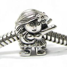 Sterling Silver Hawaii Hula Dancer Smile Little Girl Bead For Pandora Troll European Charm Bracelets