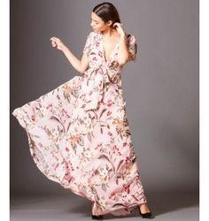 a979431e0a69 Eμπριμέ Maxi Φόρεμα με Βε και Βολάν - Εμπριμέ-Ροζ Φωτογραφία Μόδας