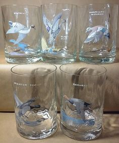 Ned Smith set of five wild bird glasses*redhead*black duck*greater scaup*pintail