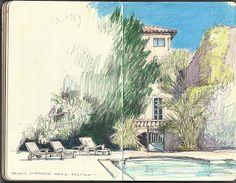 Diane Olivier - Fine Artist: Sketchbooks  jagged linework but sky is saturated.