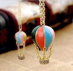 Min.order $10 Cheap  Korea Cute Gold Hot Air Balloon Necklaces Pendants Alloy Fashion Jewelry Colorful Wholesale Free Shipping