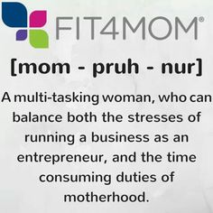 Here are tips if you are a new mom entrepreneur... http://fit4mom.com/latest/blog/tips-to-becoming-a-successful-mompreneur #mompreneur #fit4momfranchise #fit4momcareer