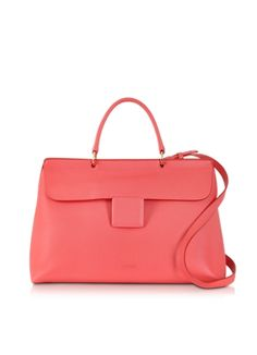 Jil Sander Coral Lady J Large Handbag - Forzieri http://www.forzieri.com/handbags/jil-sander/js130314-019-00  Coral Lady J Large Handbag is crafted in softly textured leather in a modern triangular design adding a modern minimal edge to your every day look. Featuring a single handle on a flap top double magnetic closure, interior zip pocket and gold tone signature hardware detail. Made in Italy.