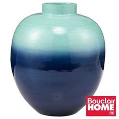 Bouclair Turkish Tile Bamboo Ombre Round Vase Ombre Blue