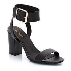 Sandales en cuir, à talon, large bride cheville