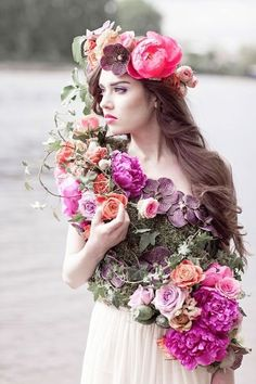 New Ideas Flowers Crown Photoshoot Ana Rosa Love Flowers, Flowers In Hair, Beautiful Flowers, Fascinator, Floral Fashion, Woodland Wedding, Belle Photo, Fashion Photography, Wedding Inspiration