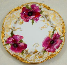 (Circa ~ 1906) Jean Pouyat JP Limoges France Hand painted Poppy Plate