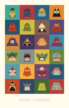 """He-Man and The Masters of the Universe art print created by James Boorman called """"Faces of the Universe."""