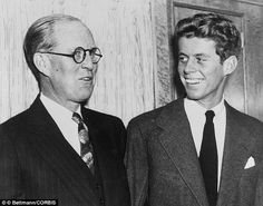 John F. Kennedy pictured with his Father Joseph P. Kennedy Sr. in December 1938. New book says he exploited the PT 109 story helping to pave the path for JFK to enter the White House