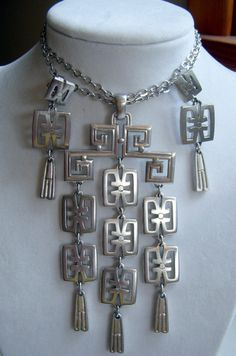 Crown Trifari Silver Asian Pendant Necklace and Drop by junquegrl, $85.00