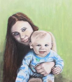 Mother and Son by Jeanne Fischer #portraits #mother #child  COMMISSIONS ARE WELCOMED